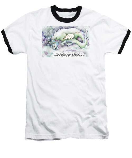 Baseball T-Shirt featuring the painting Well Documented Fpi Editorial Cartoon by Dawn Sperry