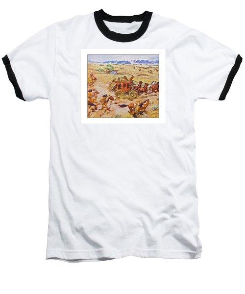 Wells Fargo Express Old Western Baseball T-Shirt by Susan Leggett