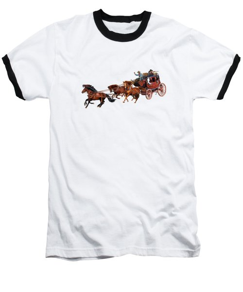 Wells Fargo Stagecoach Baseball T-Shirt by Glenn Holbrook