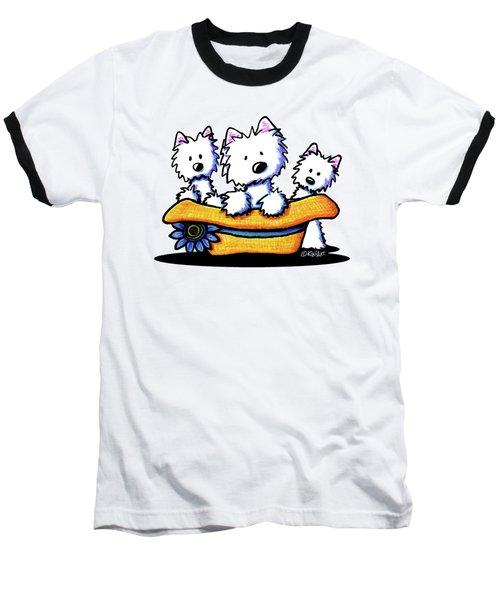 Westie Hat Trio Baseball T-Shirt by Kim Niles