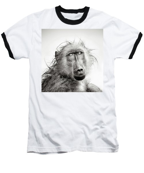 Wet Baboon Portrait Baseball T-Shirt by Johan Swanepoel