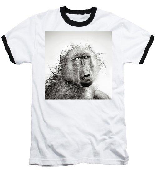 Wet Baboon Portrait Baseball T-Shirt