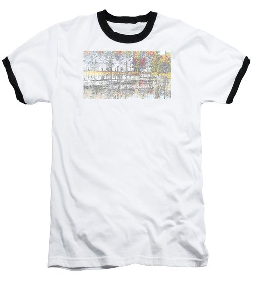Wetland Reflections Abstract Baseball T-Shirt