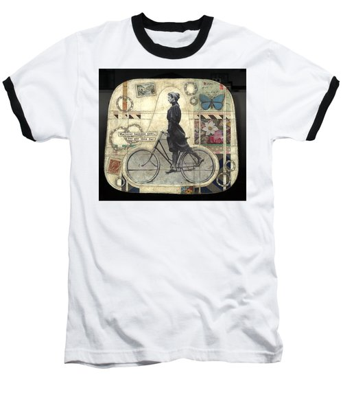 Baseball T-Shirt featuring the painting Whatever Happens by Casey Rasmussen White