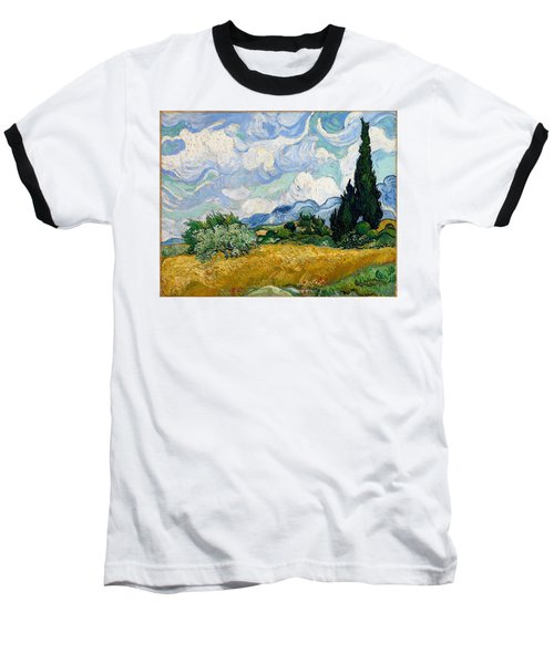 Baseball T-Shirt featuring the painting Wheatfield With Cypresses by Van Gogh
