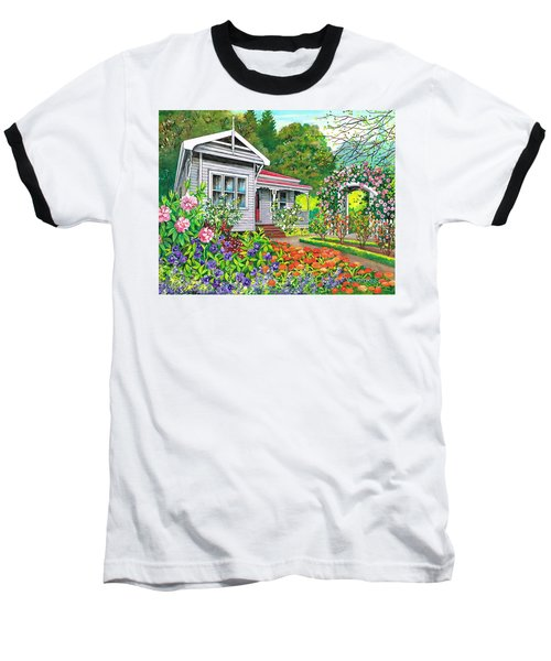 Baseball T-Shirt featuring the painting Where Memories Linger by Val Stokes
