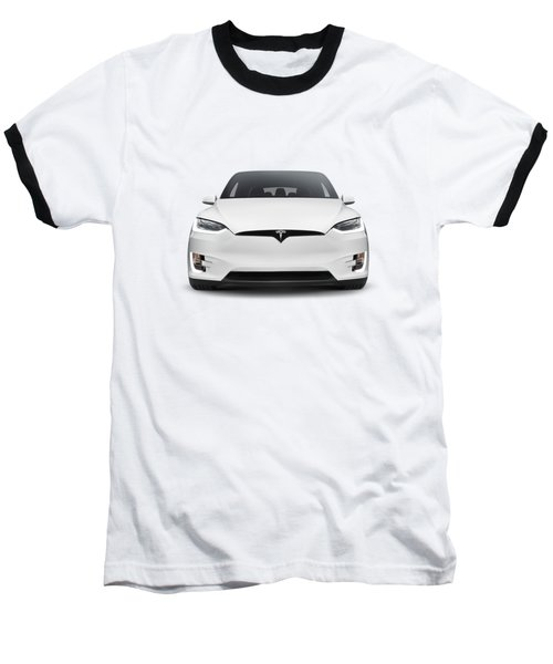 White 2017 Tesla Model X Luxury Suv Electric Car Front Isolated Art Photo Print Baseball T-Shirt