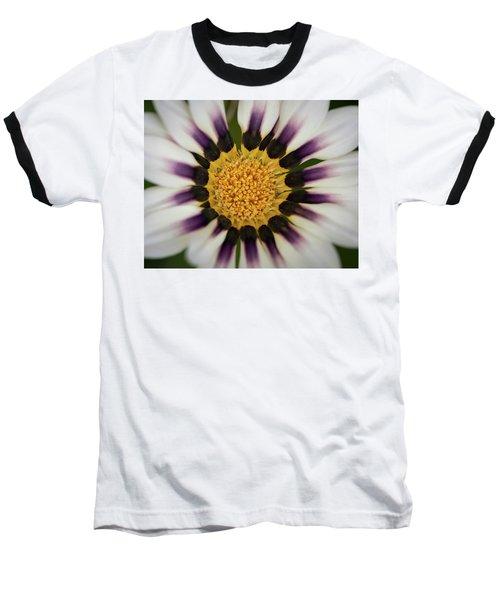 White And Purple Zinnia With Yellow Baseball T-Shirt