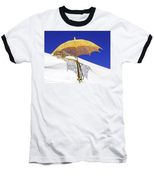 White At Base And Yellow On Blue Baseball T-Shirt