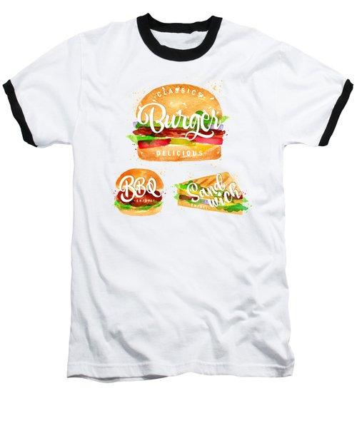White Burger Baseball T-Shirt by Aloke Creative Store