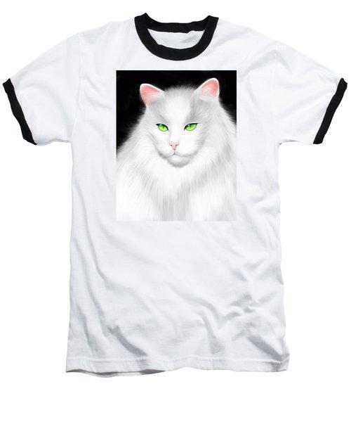 White Cat Baseball T-Shirt by Salman Ravish