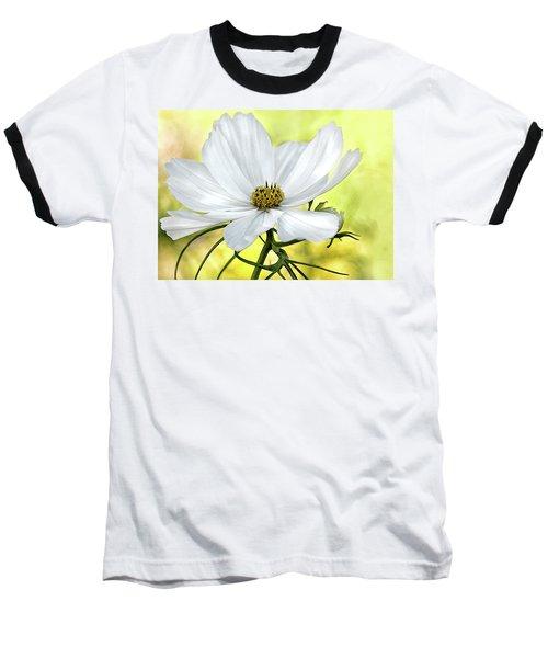 White Cosmos Floral Baseball T-Shirt