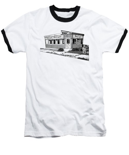 Baseball T-Shirt featuring the drawing White Crystal Diner Nj Sketch by Edward Fielding