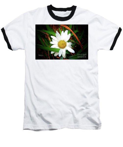 White Daisy Baseball T-Shirt by Inspirational Photo Creations Audrey Woods