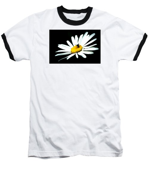 Baseball T-Shirt featuring the photograph White Daisy Flower And A Fly by Alexander Senin