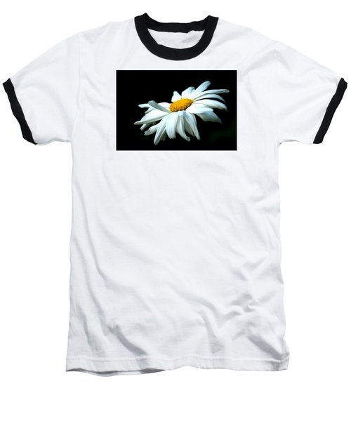 Baseball T-Shirt featuring the photograph White Daisy Flower In The Wind by Alexander Senin