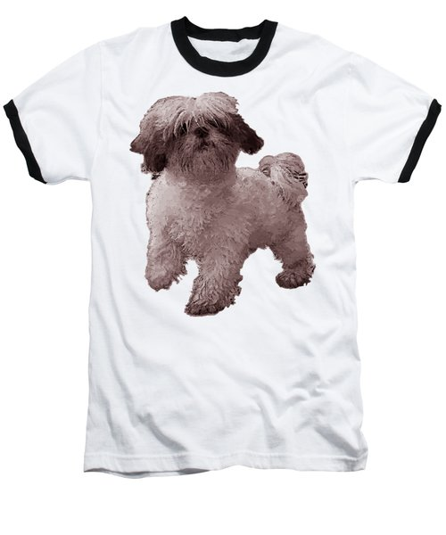 White Dog  Baseball T-Shirt