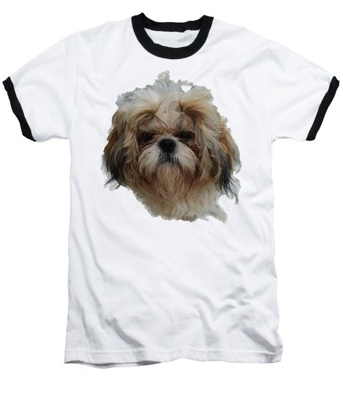 White Dog Head Baseball T-Shirt