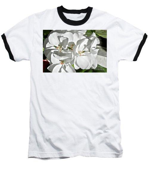 White Geraniums Baseball T-Shirt