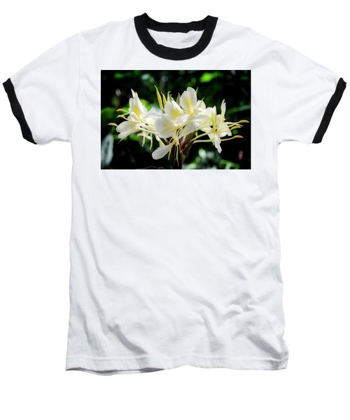 White Hawaiian Flowers Baseball T-Shirt