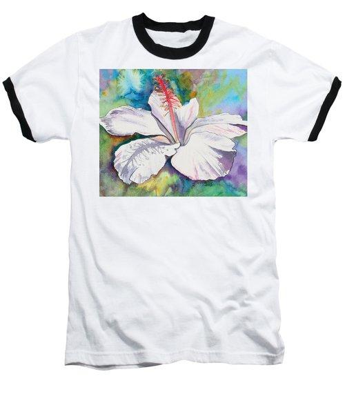White Hibiscus Waimeae Baseball T-Shirt