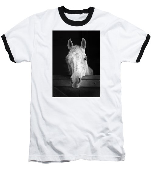 Baseball T-Shirt featuring the photograph White Horse by Marion Johnson