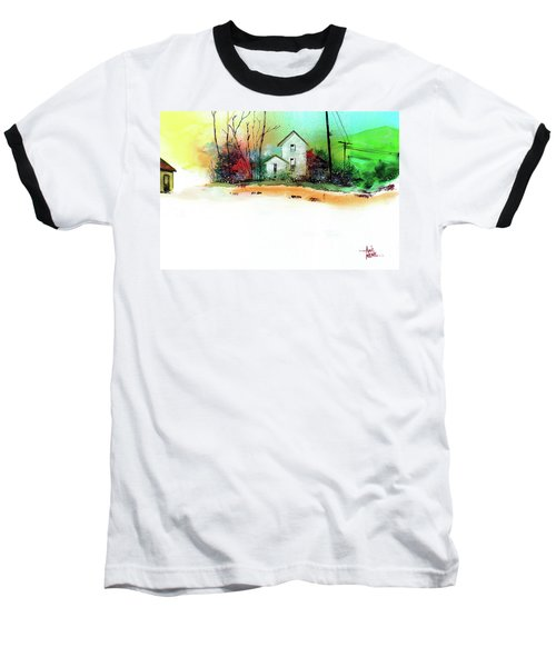 Baseball T-Shirt featuring the painting White Houses by Anil Nene