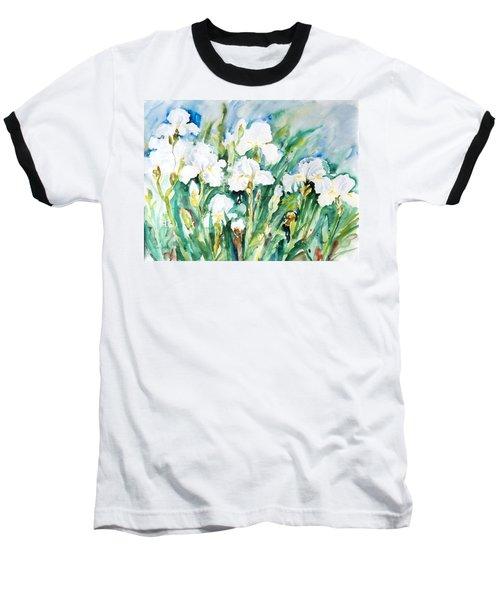 White Irises Baseball T-Shirt by Alexandra Maria Ethlyn Cheshire