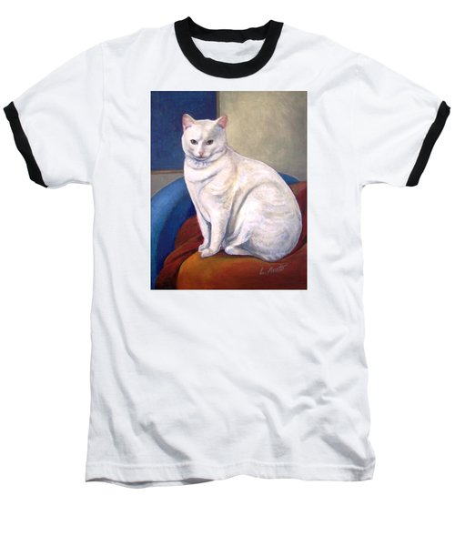 White Kitty Baseball T-Shirt by Laura Aceto