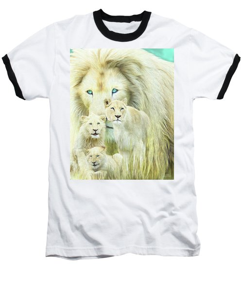 Baseball T-Shirt featuring the mixed media White Lion Family - Forever by Carol Cavalaris