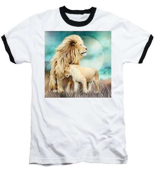 Baseball T-Shirt featuring the mixed media White Lion Family - Protection by Carol Cavalaris