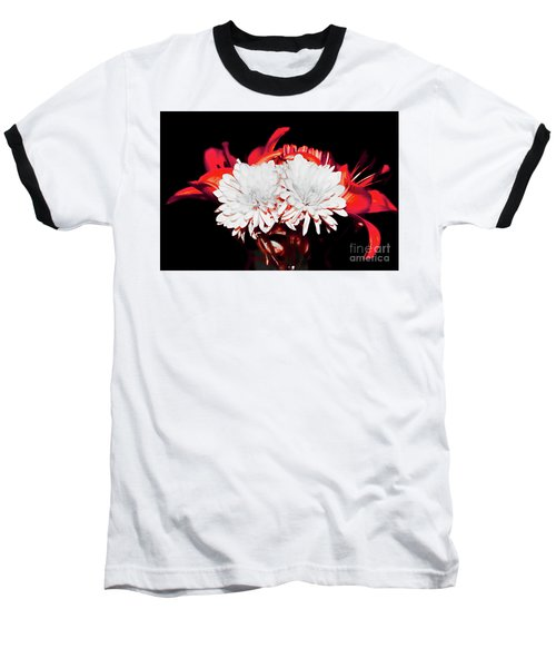 White Mums And Red Lilies Baseball T-Shirt