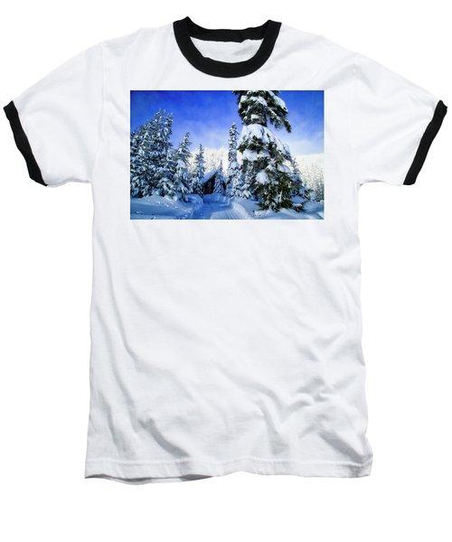 White Pass Chalet Baseball T-Shirt by Lynn Hopwood