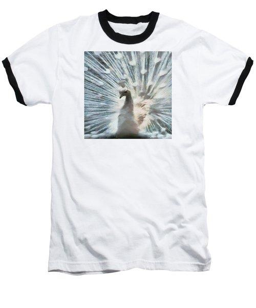 Baseball T-Shirt featuring the digital art White Peacock by Charmaine Zoe
