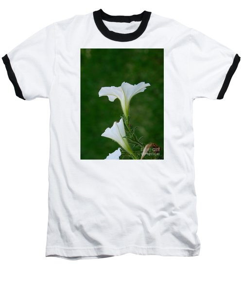 White Petunia Blossoms Baseball T-Shirt