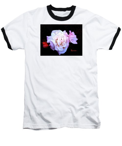 Baseball T-Shirt featuring the photograph White - Pink Roses by Sadie Reneau