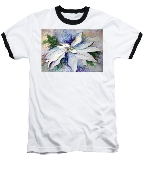 White Poinsettia Baseball T-Shirt