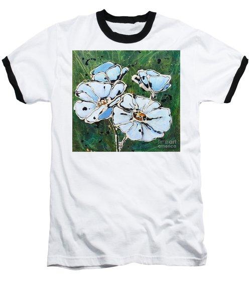 White Poppies Baseball T-Shirt by Phyllis Howard