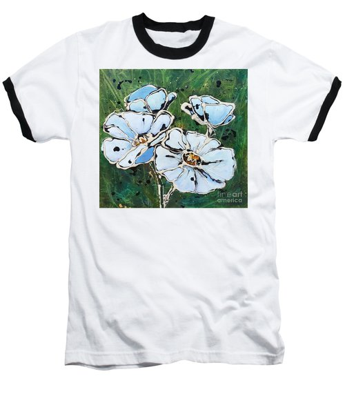 White Poppies Baseball T-Shirt