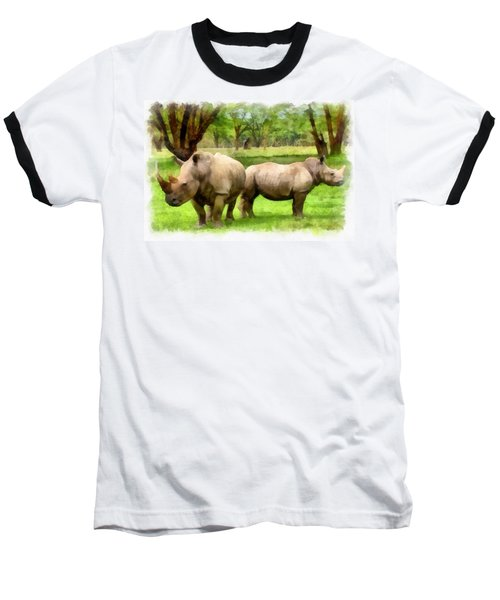 White Rhinos Baseball T-Shirt by Maciek Froncisz