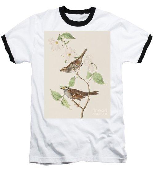 White Throated Sparrow Baseball T-Shirt by John James Audubon