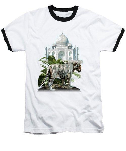 White Tiger And The Taj Mahal Image Of Beauty Baseball T-Shirt