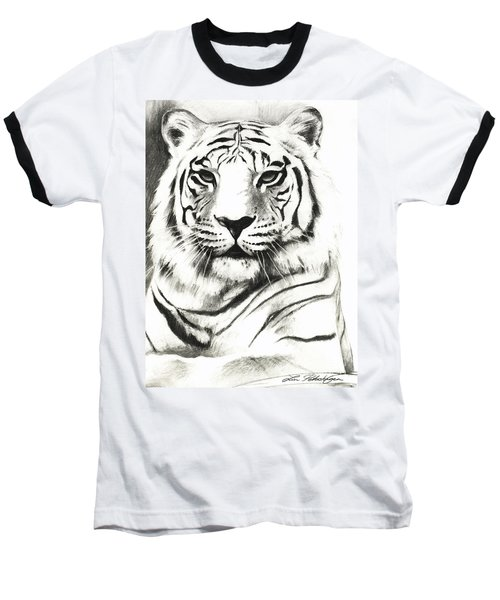 White Tiger Portrait Baseball T-Shirt