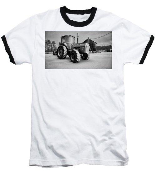 White Tractor Baseball T-Shirt