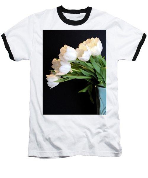 White Tulips In Blue Vase Baseball T-Shirt by Julia Wilcox