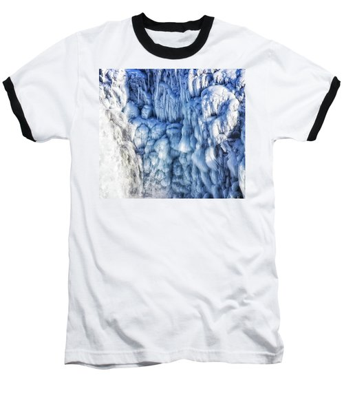 Baseball T-Shirt featuring the photograph White Water And Blue Ice Gullfoss Waterfall Iceland by Matthias Hauser