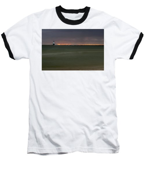 Wide View Of Lighthouse And Sunset Baseball T-Shirt