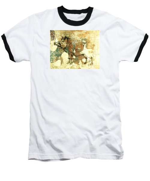 Baseball T-Shirt featuring the drawing Wild Boar Cave Painting 1 by Larry Campbell