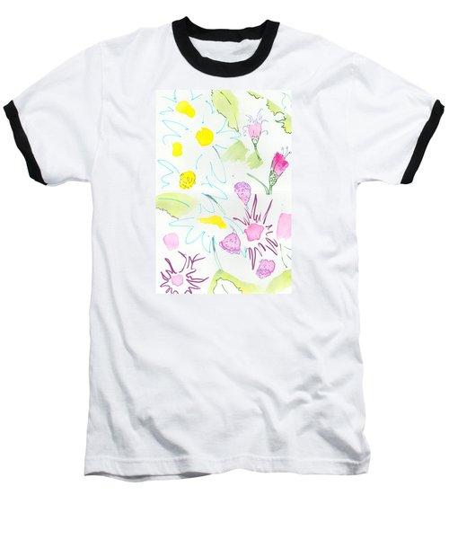 Wild Daisies Pattern Baseball T-Shirt