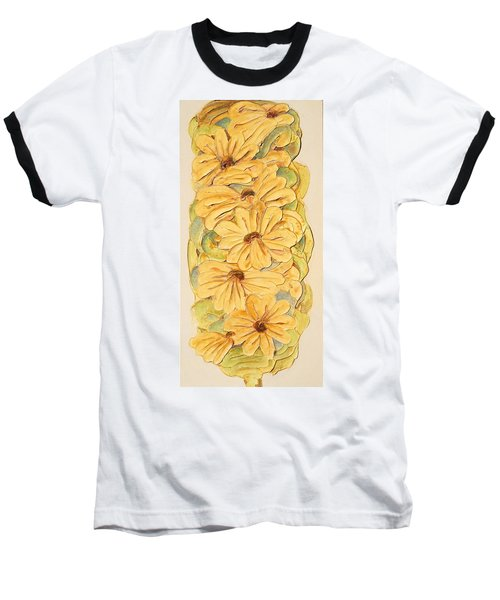 Wild Flower Abstract Baseball T-Shirt by Theresa Marie Johnson